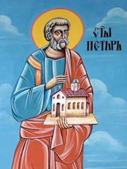 """Свети Петър, стенопис от параклис """"Света Троица"""", с.Душанци"""